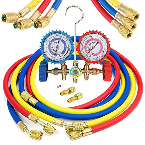 LIYYOO Air Conditioning Refrigerant Charging Hoses with Diagnostic Manifold Gauge Set for R410A R22 R404 Refrigerant Charging,1/4' Thread Hose Set 60' Red/Yellow/Blue (3pcs) with 2 Quick Coupler