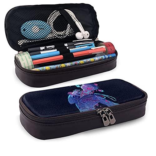 Yuri on Ice - Estuche de piel sintética para lápices de anime (gran capacidad, bolsa de papelería, bolsa de almacenamiento, bolsa de maquillaje, con cremallera, color marrón