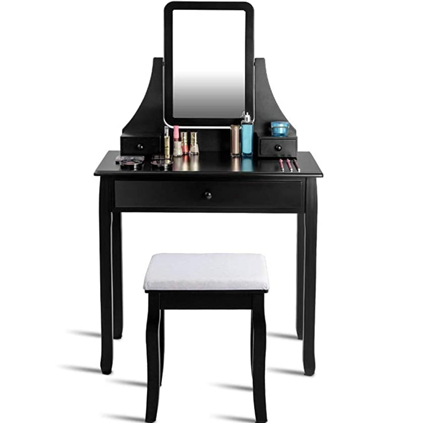 DELOVE Luxury White Dressing Table with Mirror and Stool, Vanity Table Set Drawers Bedroom Dresser