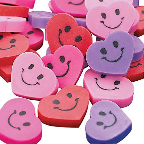 MINI SMILE FACE HEART ERASERS - Stationery - 144 Pieces