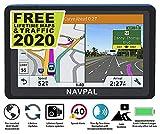 SLIMLINE SAT NAV, 17,8 cm avec édition 2020 World Maps, mises à jour gratuites à vie [100% sans frais cachés], navigation GPS pour voiture, camion, camping-car