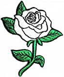 White Rose Tattoo Love Flower Cartoon Kids Symbol DIY Iron on Patch Iron-On Designer Patch Used for Gifts Crafts Jeans Clothing Fabric