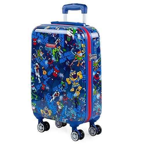KUKUXUMUSU - Maleta Cabina de Viaje Infantil Juvenil rígida 4 Ruedas Trolley 55 cm policarbonato Estampado. Equipaje de Mano. y Ligera. Mango y asa. ryanair 131250, Color Azul