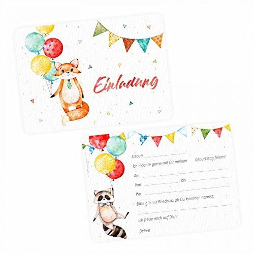 nikima Schönes für Kinder - 5 Einladungskarten Fuchs Waschbär Luftballon inkl. 5 Transparenten Briefumschlägen Kinder Geburtstag Mädchen Junge Einladung Feier Girlande Konfetti Wimpelkette Bunt
