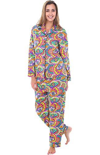 Alexander Del Rossa Women's Warm Flannel Pajama Set, Long Button Down Cotton Pjs, Medium Brazilian Dream (A0509Q69MD)