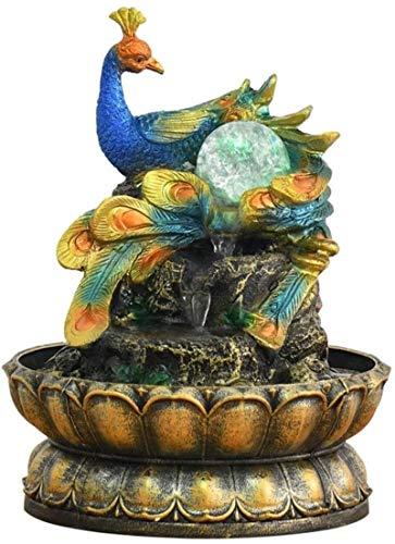 Home Art Decor Crafts Inicio Oficina Decoración de Escritorio Hogar Lucky Feng Shui Decoración Decoración Fuente Resina Peacock Fuente Cascada con Bola de Cristal, 20 cm × 20cm × 26cm Cascada de mesa
