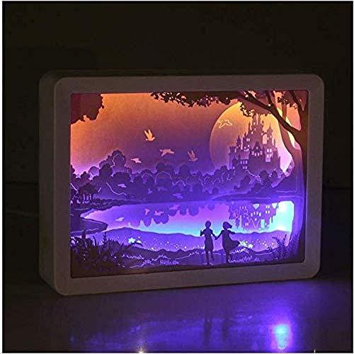 Yueyue947 / USB Relaxing Castle Tischnachtlicht Papercut Light Boxes, Schlafzimmer Wohnzimmer 3D-Schattenlampe für Kinder und Erwachsene, Blue Frame