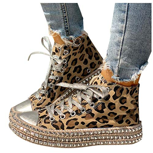 Yxiudeyyr Platform Shoes,Women Round Toe Leopard Print Lace-Up High-Top Shoes Slip On Canvas Shoes Plus Size Sneakers(Brown,40)