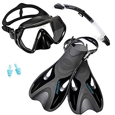 Supertrip Snorkel Set with Fins Impact Resistant Tempered Glass Anti-Fog Snorkeling Mask-Adjustable Diving Swimming Fins/Flippers-Dry Top Snorkel Included?Black S/M?