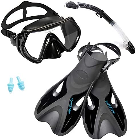 Supertrip Snorkel Set with Fins Impact Resistant Tempered Glass Anti Fog Snorkeling Mask Adjustable product image
