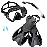 SUPERTRIP Snorkel Set With Fins Impact Resistant Tempered Glass Anti-Fog Snorkeling Mask-Adjustable Diving Swimming Fins/Flippers-Dry Top Snorkel Included