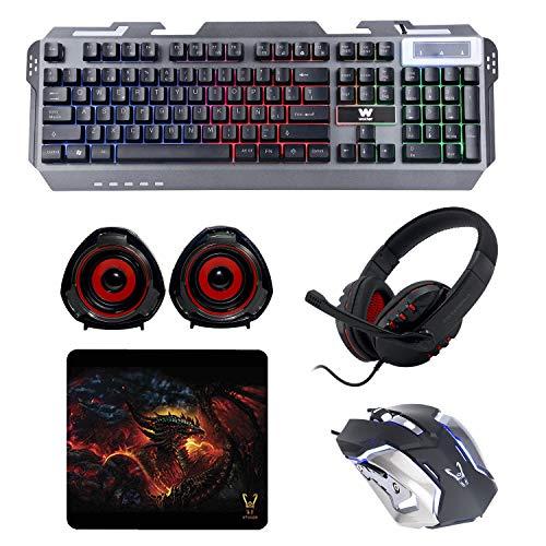 WOXTER Stinger FX 80 Megakit Pro - Kit Gaming (Teclado retroiluminado de Base metálica,ratón óptico hasta 3200 dpi, Alfombrilla Microfibra 25x21, Auriculares con micrófono y Altavoces 2.0 15W)