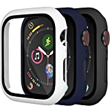[3 Pack] Charlam Case Compatible for Apple Watch 40mm SE iWatch Series 6 5 4 with Screen Protector, All-Around Ultra-Thin Bumper Full Cover Hard PC Protective Case, Black, Navy Blue, White, 3 Pack