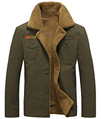 chouyatou Men's Casual Single Breasted Sherpa Lined Cotton Bomber Jacket (Large, Army Green)