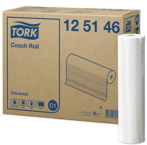 Tork 125146 Papel para camilla Universal de 1 capa compatible con el sistema de rollos de camilla C1, blanco, 8 rollos x 50.16 metros, 38 x 39 cm (L x A) x servicio