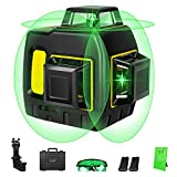 DLEADER Laser Level, 3x360 3D Green Laser Level forConstruction, 3 Plane Leveling and Alignment Cross Line Laser Level Self Leveling Kit,LaserLevel Tool with 12 Lines, class II, 1mW