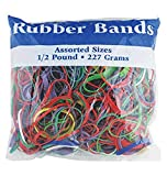 BAZIC 465 Multicolor Rubber Bands for School, Home, or Office (Assorted Dimensions 227g/0.5 lbs)