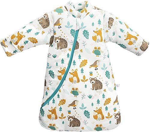 Junqin Invierno bebé Anti-Retroceso Colcha artefacto Bolsa de transición Pijamas de Coche para niños algodón Engrosamiento Saco de Dormir para bebé, Mangas Desmontables, Altura 66-95 cm-Yellow||L