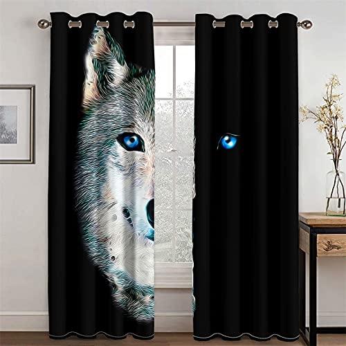 YUNSW Cortinas Opacas Y Reductoras De Ruido con Patrón De Lobo Realista En 3D para Sala De Estar Y Dormitorio, Juego De 2 (Total Width) 234x(Height) 230cm