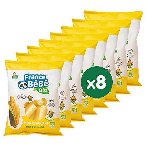 FRANCE BéBé BIO - Stick de maïs soufflé BIO - Mon Craquant - Vegan - Lot 8 sachets de 20g
