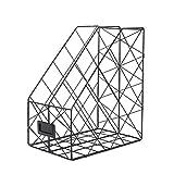 TOYANDONA Organizador de carpetas de papel de archivo organizador de libros de revistas vertical organizador de almacenamiento de documentos de escritorio (negro)