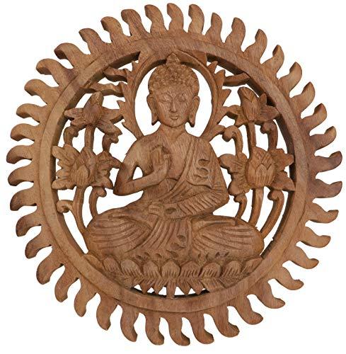 Guru-Shop Geschnitztes Wandbild Deko Wandrelief - Buddha, Braun, 28x28x2 cm, Buddhas