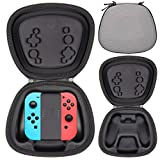 Sisma Hardcase Aufbewahrung Tasche für Offizielle Nintendo Switch Joy Con Halterung mit Joycon Controller, Stoßdämpfender Schutz Hülle - Grau