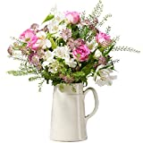 Fresh Flower Delivery of Pink Roses & White Alstroemeria | Letterbox Flowers Delivered with Next Day UK Delivery | Free Personalised Gift Card & Message | Perfect for Birthdays & Thank You Flowers