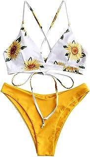 comprar comparacion ZAFUL Conjunto de Bikini con Relleno Push Up Triangular Busto Ajustable con Tirantes Cruzados Traseros Estampado Talle Bajo