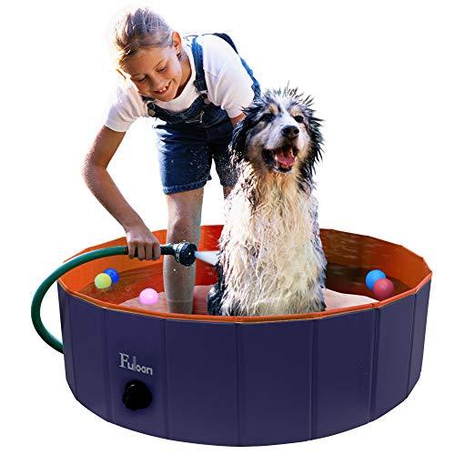 Fuloon Hunde Pool badewanne, Faltbarer Katzenpool Swimmingpool Planschbecken Schwimmbad Hundebadewanne PVC-rutschfest, Verschleißfest, Für Kinder Den Hund Katze