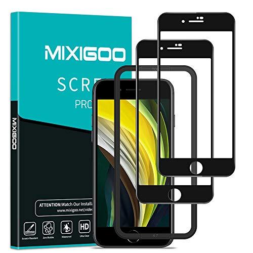 mixigoo Full Screen Panzerglas für iPhone SE 2020, [2 Stück] 9H Härte Panzerglasfolie mit Positionierhilfe Anti-Kratzen Schutzfolie Displayschutzfolie für iPhone SE/iPhone 7/8 Folie - 4.7''