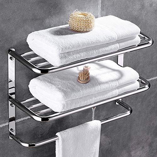 Greensen Toallero de acero inoxidable de 3 capas, estante de almacenamiento para toallas de baño, toallero montado en la pared, multifuncional, hotel – 55 x 45 x 21 cm