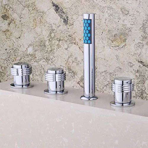 CENPEN Grifo de lavabo de cinco agujeros de cromo caliente y frío para bañera de hidromasaje, ducha de fontanería de cinco piezas grifos de baño grifos de baño