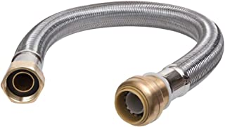 SharkBite U3088FLEX12LF Flexible Water Heater Connector 3/4 inch x 3/4 inch x 12 inch, Push-to-Connect Braided Stainless Steel Water Heater Hose