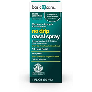 Amazon Basic Care Severe Congestion Nasal Spray, Oxymetazoline HCl; Provides 12 Hour Nasal Congestion Relief, 1 Fluid Ounce