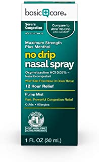 Basic Care No Drip Nasal Spray, for Fast, Powerful Nasal & Sinus Congestion Relief