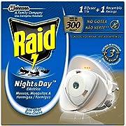 Raid - Night & Day Anti Mosquitos y Hormigas Eléctrico Sin Olor, Control de Intensidad, 300 Noches - 200 gr
