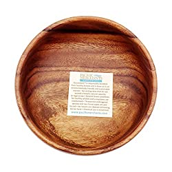 Pacific Merchants Acaciaware 6- by 3-Inch Acacia Wood Salad Bowl