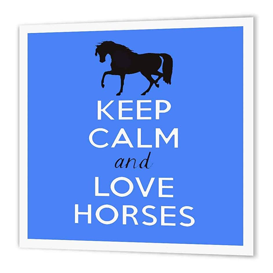 3dRose ht_193617_3 Keep Calm and Love Horses. Blue-Iron on Heat Transfer Paper for White Material, 10 by 10-Inch
