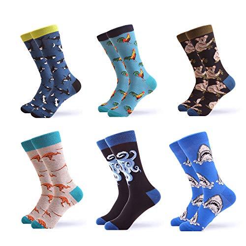 WeciBor Calcetines Hasta La Pantorrilla Para Hombre Estampados Hombres Ocasionales Calcetines Divertidos Impresos de Algodón de Pintura Famosa de Arte Calcetines de Colores de moda (ES057-26)