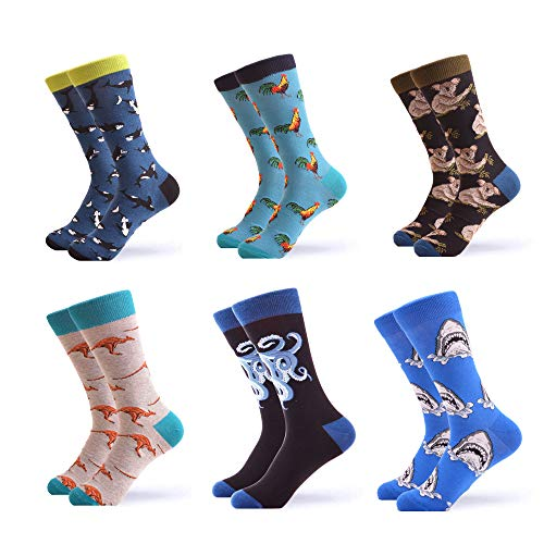 WeciBor Men's Colorful Novelty Patterned Casual Crew Socks Packs (057-26)