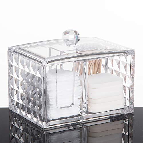 WELTRXE Wattestäbchen-Spender Make-up-Organizer Badezimmer Aufbewahrung Wattestäbchen-Halter Wattepad-Behälter mit Deckel (quadratisch 3 in 1)
