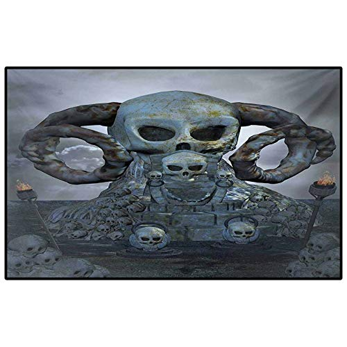 Skull Christmas Rugs Kitchen Spooky Scary Throne with Many Skulls Horns and Torches Graves Death Ghosts Theme Marine Carpet Bluegrey Silver 4 x 6 Ft