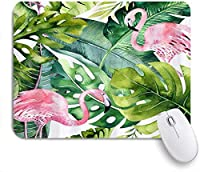 ZOMOY マウスパッド 個性的 おしゃれ 柔軟 かわいい ゴム製裏面 ゲーミングマウスパッド PC ノートパソコン オフィス用 デスクマット 滑り止め 耐久性が良い おもしろいパターン (夏のフラミンゴの緑のヤシの葉)