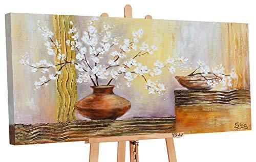 YS-Art | Dipinti a Mano Colori acrilici Vaso con Fiori III | Quadro Dipinto a Mano | 120x60cm | Pittura | Dipinti Modern | Quadri Dipinti a Mano | Marrone