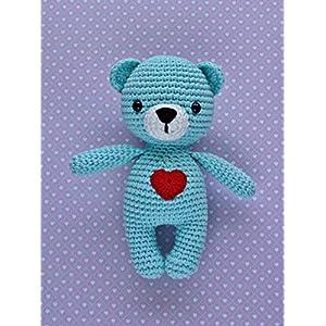Häkeltier Teddy Mini helltürkis aus Baumwolle