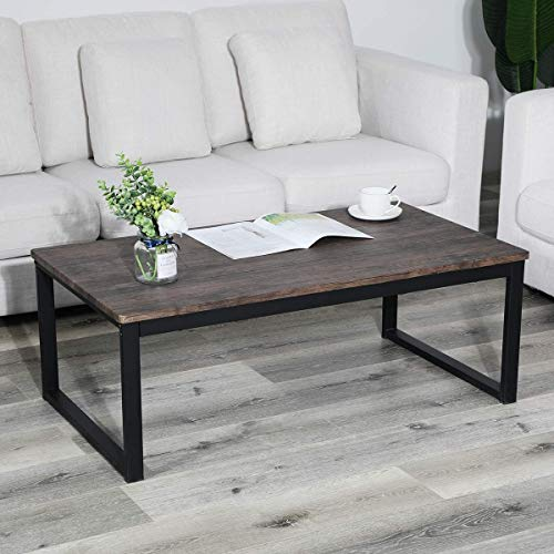 Aingoo Rustic Industrial Coffee Table with Metal Frame Modern Simple Coffee Table for Living Room, Easy Assembly, Dark Brown CT-01
