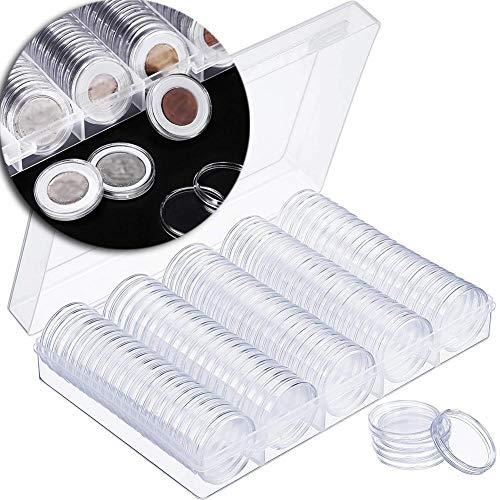 mooderff munt capsules met opbergdoos, 100 stuks 22 mm kunststof muntcollectie vitrine met schuim afdichting