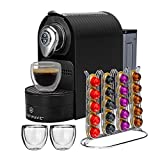 ChefWave Mini Espresso Machine - Nespresso Capsules Compatible - Programmable One-Touch 27 Oz. Water Tank, Premium Italian 20 Bar High Pressure Pump - 40 Pod Holder, 2 Double-Wall Glass Cups - Black