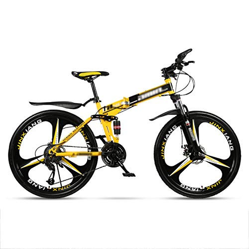 24' Full Suspension Folding Mountain Bike 30 Speed Bicycle Men or Women MTB Foldable Frame,Shimano Rear derailleur,Folding Mountain Bikes for Adults and Students,Yellow